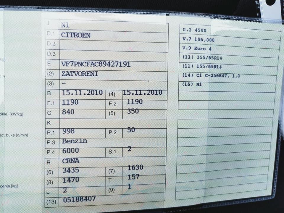 Citroen C1 1.0 2010. godina – dostavno vozilo